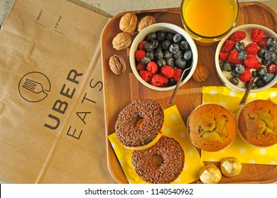 Italy - Milan july 22,2018 uber eats home delivery - you can order food from the restaurant and eat it at home, at work or in other places