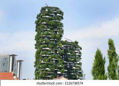 Italy - Milan july 4 2018 -  Bosco Verticale, vertical forest apartment buildings in the Porta Nuova area of the city near Unicredit Tower in Gea Aulenti Square - downtown and luxury home, skyscraper