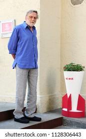 Italy - Milan july 6,2018 - Gino Strada  italian doctor founder of Emergency  posed - no war