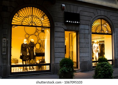 Italy, Milan - June 20, 2011: Via Montenapoleone street in Milan in the evening