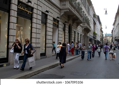 Italy, Milan - June 20, 2011: Via Montenapoleone street in Milan, with people