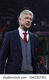Italy, Milan, march 08 2018: Arsene Wenger Arsenal manager moves to the bench before kick-off about football match AC MILAN vs ARSENAL, Europa League 2018 round of 16 at San Siro stadium