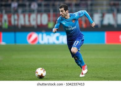 Italy, Milan, march 08 2018: Mkhitaryan Henrikh attacks ac Milan penalty area in first half during football match AC MILAN vs ARSENAL, Europa League 2018 round of 16 at San Siro stadium