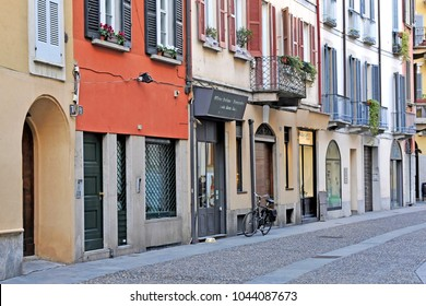 Italy - Milan March 12,2018 - Brera district, area of clubs, restaurants and shopping - historical district frequented by many foreign tourists visiting the city center , colored houses