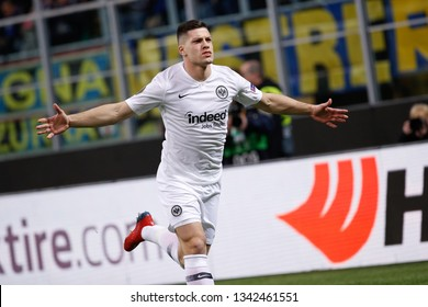 Italy, Milan, march 14 2019: Jovic Luka, Eintracht striker, celebrates the 1-0 goal at 6' during football match FC INTER vs EINTRACHT FRANKFURT, round16 Europa League 2018/2019, San Siro stadium