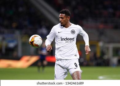 Italy, Milan, march 14 2019: Haller Sebastien, Eintracht striker, ball control in first half during football match FC INTER vs EINTRACHT FRANKFURT, round16 Europa League 2018/2019, San Siro stadium