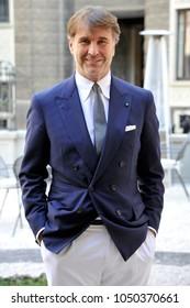 Italy - Milan march 19,2018 -  Brunello Cucinelli italian fashion designer posed