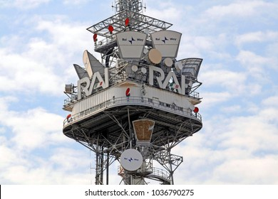 Italy - Milan March1,2018 - rai headquarters in corso Sempione - television antennas