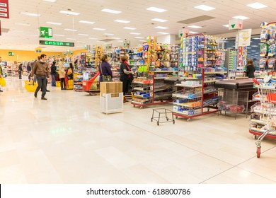 ITALY, MILAN- MAY 11, 2016: Consumers in Lidl store. Lidl is a global discount supermarket chain