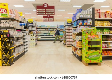 ITALY, MILAN- MAY 11, 2016: Shelves in Lidl store. Lidl is a global discount supermarket chain