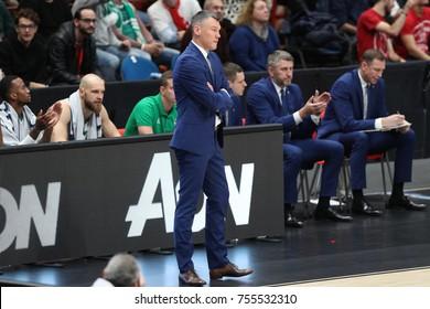 Italy, Milan, november 09 2017: Jasikevicius Sarunas head coach Zalgiris Kaunas during basketball match Ax Armani Exchange Olimpia Milan vs Zalgiris Kaunas, Euroleague 2018.