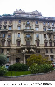 ITALY, MILAN - November 1, 2018:   Impressive Art Nouveau building at Piazza Eleonora Duse (or Quadrilateral of silence) in Porta Venezia district in Milan