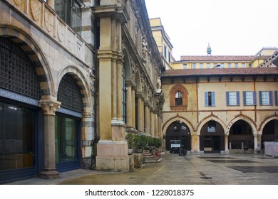 ITALY, MILAN - November 1, 2018: Loggia of the Osii (Loggia degli Osii) at Piazza dei Mercanti in Milan