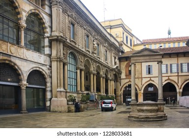 ITALY, MILAN - November 1, 2018: Loggia of the Osii (Loggia degli Osii) and Palace of the Palatine School at Piazza dei Mercanti in Milan