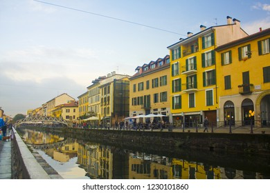 ITALY, MILAN - November 1, 2018: Bridge Via Corsico (Ponte Di Via Corsico) at Naviglio Grande Canal at the evening in Milan