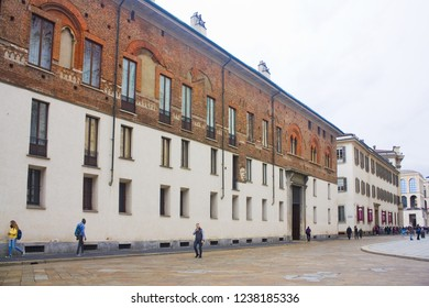 ITALY, MILAN - November 1, 2018: Library of the Superintendence for architectural heritage and landscape of Milan, Bergamo, Como, Lecco, Lodi, Pavia, Sondrio and Varese at Piazza Duomo in Milan