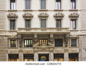 ITALY, MILAN - November 1, 2018: Beautiful building at Dante street (Via Dante) in the center of Milan