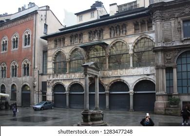 ITALY, MILAN - November 1, 2018: Loggia of the Osii (Loggia degli Osii) at Piazza dei Mercanti in Milan