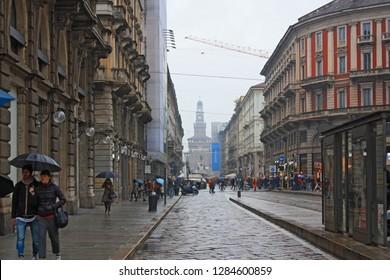 ITALY, MILAN - November 1, 2018: Dante street (Via Dante) in the center of Milan