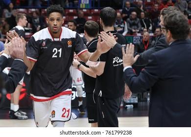 Italy, Milan, november 17 2017: Rubit Augustine team presentation during basketball match Ax Armani Exchange Olimpia Milan vs Brose Bamberg, Euroleague 2018.
