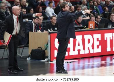 Italy, Milan, november 17 2017: Trinchieri Andrea Brose Bamberg head coach during basketball match Ax Armani Exchange Olimpia Milan vs Brose Bamberg, Euroleague 2018.