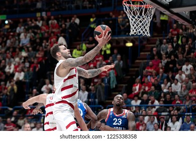 Italy, Milan, november 2 2018: Micov Vladimir scores under the basket in the first half during basketball match A|X ARMANI MILAN vs ANADOLU EFES ISTANBUL, EuroLeague 2019, Mediolanum Forum