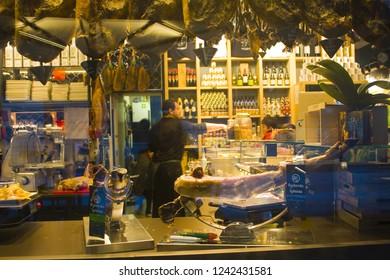 ITALY, MILAN - November 2, 2018: Showcase of store with a hamon in Milan