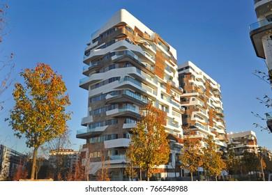 Italy - Milan november 30,2017 - Citylife complex - Hadid and Isozaki Tower - skyscrepers