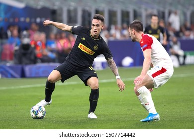 Italy, Milan, september 17 2019: Lautaro Martinez, fc Inter striker, dribbles in the first half during football match FC INTER vs SLAVIA PRAHA, Champions League 2019/2020 day1, San Siro stadium