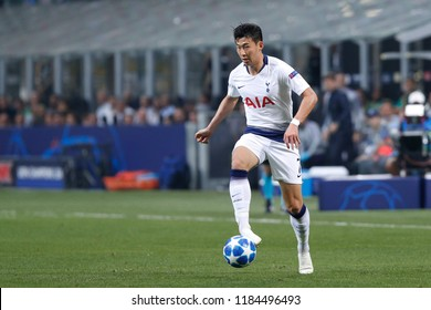 Italy, Milan, september 18 2018: Son Heung-Min, Tottenham forward, takes ball in frontcourt in first half during football match FC INTER vs TOTTENHAM, Champions League 2018/2019, San Siro stadium