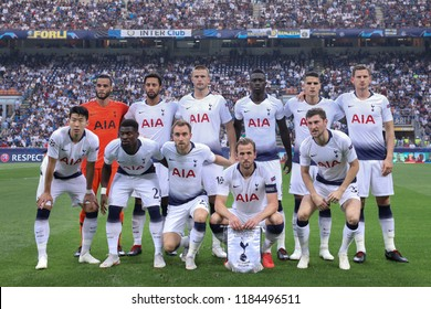 Italy, Milan, september 18 2018: Tottenham Hotspur fc team photo before kickoff about football match FC INTER vs TOTTENHAM, Champions League 2018/2019, San Siro stadium