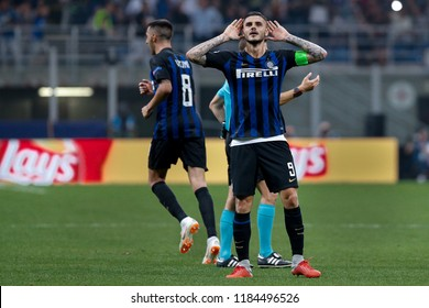 Italy, Milan, september 18 2018: Icardi Mauro facing the fans after scores the 1-1 goal at 86' during football match FC INTER vs TOTTENHAM, Champions League 2018/2019, San Siro stadium