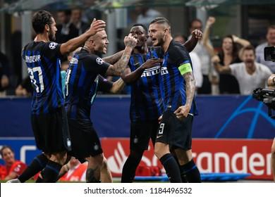 Italy, Milan, september 18 2018: Icardi Mauro scores and celebrates with teammates the 1-1 goal at 86' during football match FC INTER vs TOTTENHAM, Champions League 2018/2019, San Siro stadium
