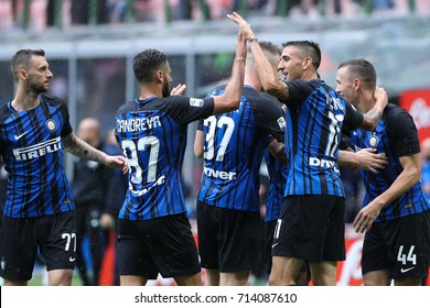 Italy, Milan, september 2017: fc Inter players celebrate Perisic goal during the football match between FC INTER vs SPAL, 3day Italy League Serie A Tim, San Siro stadium Milan september 10 2017