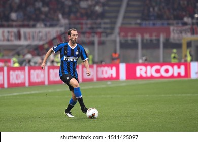 Italy, Milan, september 21 2019: Diego Godin, fc Inter defender, dribbles in frontcourt in the second half during football match AC MILAN vs FC INTER, Serie A 2019/2020 day4, San Siro stadium
