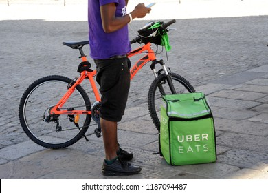 Italy - Milan september 24 22,2018 uber eats home delivery - you can order food from the restaurant and eat it at home, at work or in other places
