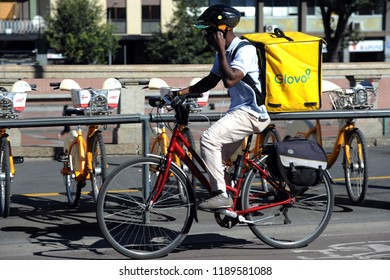 Italy - Milan september  28,2018 Glovo home delivery - you can order food from the restaurant and eat it at home, at work or in other places