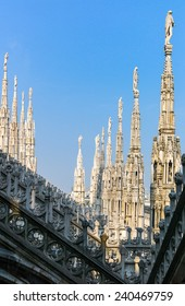 Italy, Milan, spires and marble works of the Duomo cathedral rooftop