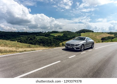 Italy, Montebello, June 2018 - Silver Mercedes-Benz S-Class Coupe S 63 AMG V8 Biturbo (Mercedes-AMG C217) during test-drive. Illustrative editorial.