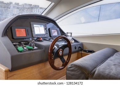 Italy, Naples, Abacus 52 luxury yacht, dinette, driving consolle
