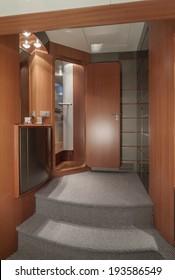 Italy, Naples, Atlantica luxury yacht (Cantieri di Baia boatyard), master bedroom entrance