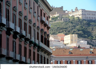 Italy /Naples – August 21, 2016: The colors of the palaces of Naples and Castel sant'Elmo a medieval castle, used as a museum, located on the Vomero hill.
