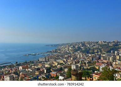 Italy, Naples, view of the western area, of the port of Mergellina and Posillpo in the background.