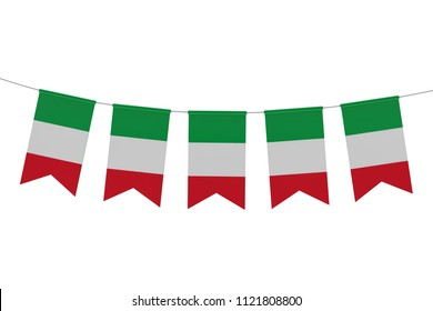 Italy national flag festive bunting against a plain white background. 3D Rendering