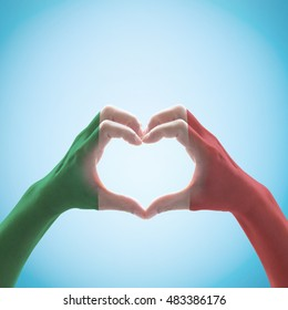 Italy National flag pattern  on hand heart shape.