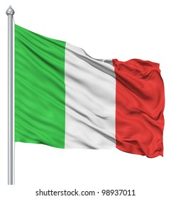 Italy national flag waving in the wind