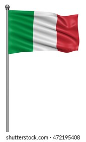 Italy national flag waving in the wind,3d illustration