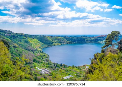 Italy, Nemi,  panoramic view of the lake seen from the village