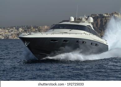 Italy, off the coast of Naples, Atlantica luxury yacht (boatyard: Cantieri di Baia)