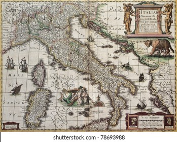 Italy old map. Created by Henricus Hondius, published in Amsterdam, 1631